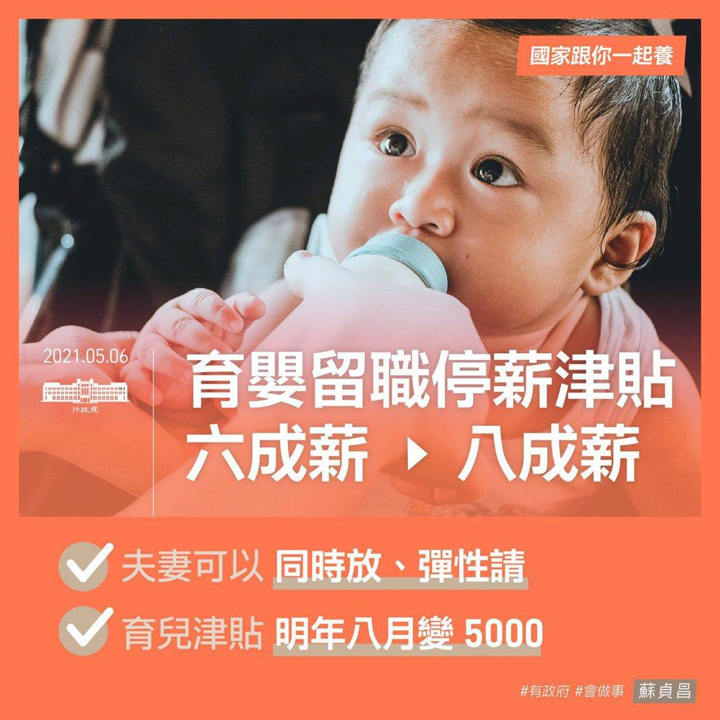行政院說明本次推出的助孕、育兒三大措施。取自蘇貞昌臉書