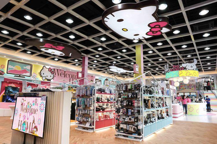 聯名店內集結Hello Kitty、美樂蒂、布丁狗、大眼蛙等角色元素,立體造型天...