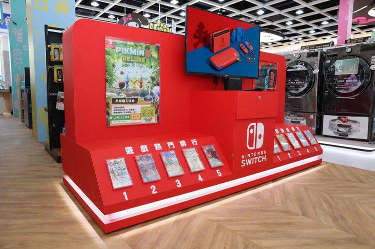 店內更擁有全國電子南台灣門市最大座的任天堂Switch遊戲機體驗專區,消費者可揪...