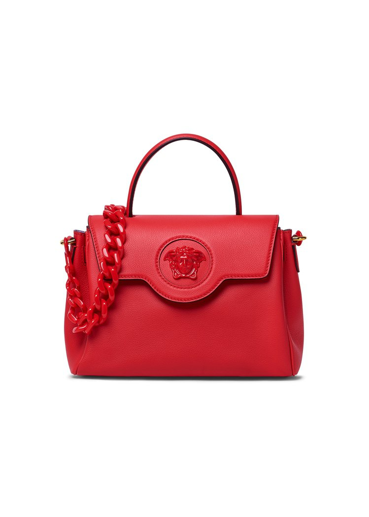 La Medusa紅色中型手袋,76,500元。圖/Versace提供