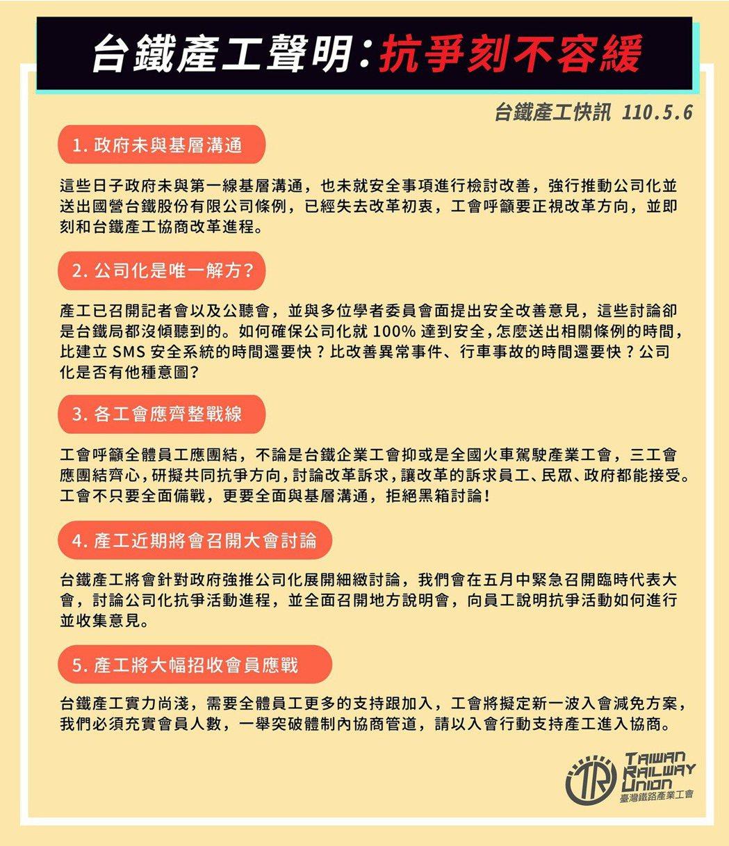 台鐵產業工會五大聲明。圖/取自台鐵產業工會臉書