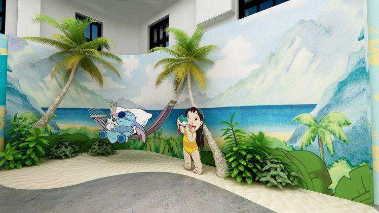 「史迪奇沙灘主題牆」重現夏威夷經典場景。圖/信賴互動提供
