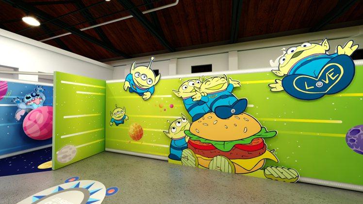 「漢堡星球主題牆」。圖/信賴互動提供
