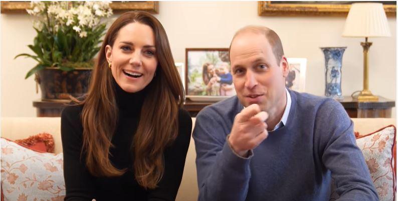 英國威廉王子(右)和夫人凱特(左)五日開設YouTube頻道,並上傳首支影片,觀...