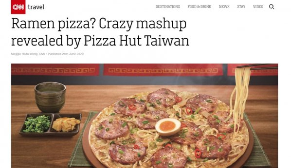 拉麵加披薩的組合太獵奇,甚至引來美國CNN報導。 來源:截圖自CNN