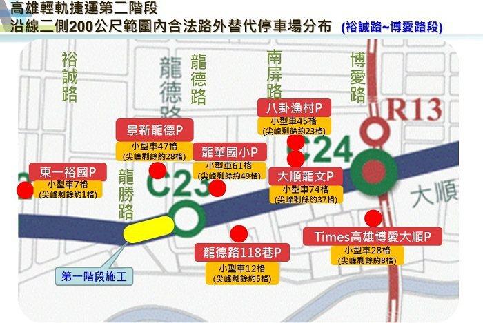 輕軌大順一路(龍勝路至龍德路)段工區沿線停車場分布圖。 高雄市捷運工程局/提供