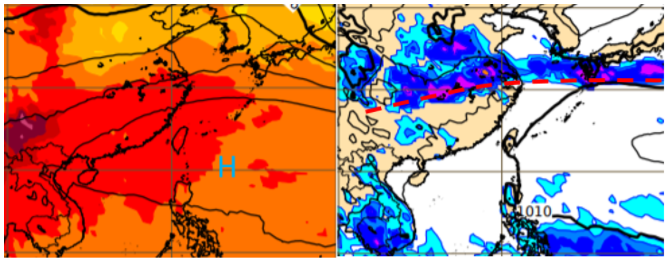 歐洲模式10天模擬,500百帕高空圖(左圖)顯示,太平洋高壓勢力偏強。地面氣壓及降水圖(右圖)則顯示,滯留鋒(紅虛線)僵持在長江流域。圖/取自「三立準氣象.老大洩天機」專欄