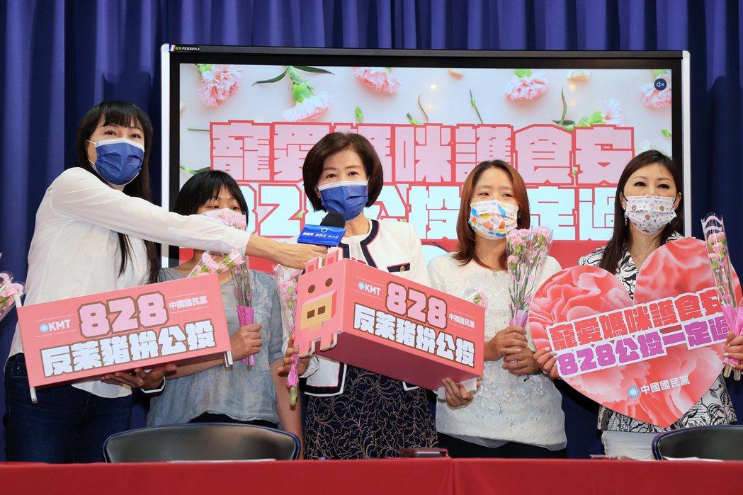 國民黨上午在黨部舉行「寵愛媽咪護食安 828公投一定過」記者會。記者林伯東/攝影