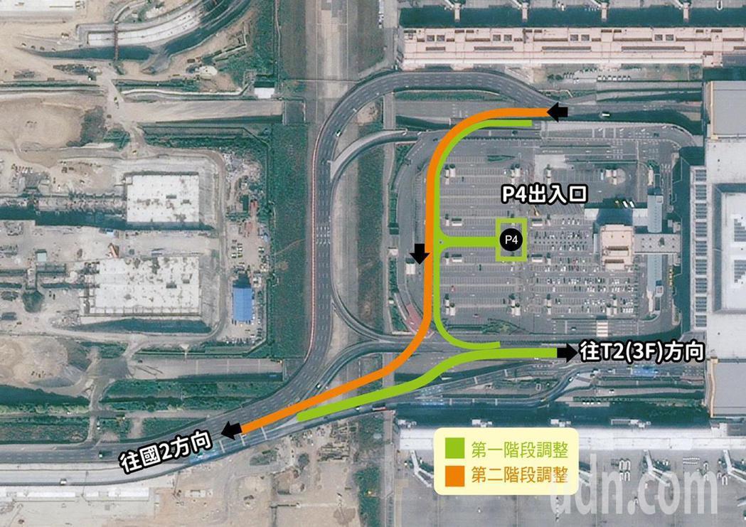 為因應第三航廈土建工程動工,桃園機場道路動線五月將進行調整,圖為新的道路動線圖。...