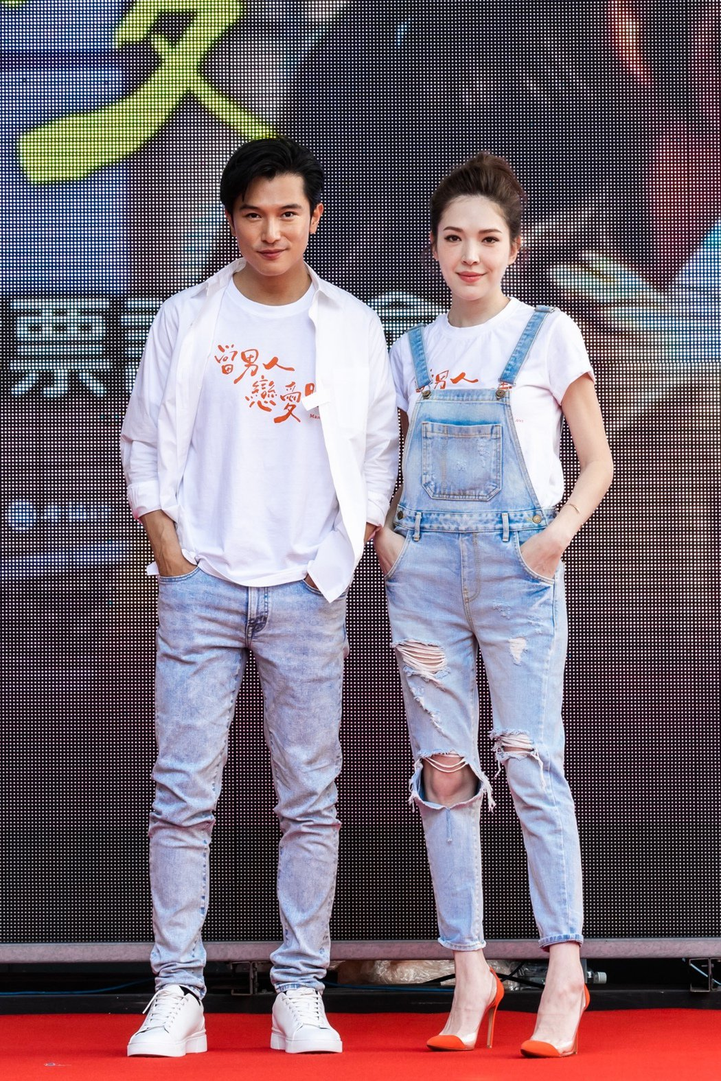 邱澤(左)、許瑋甯(右)出席「當男人戀愛時」謝票記者會,許瑋甯在爆發婚變傳言後,