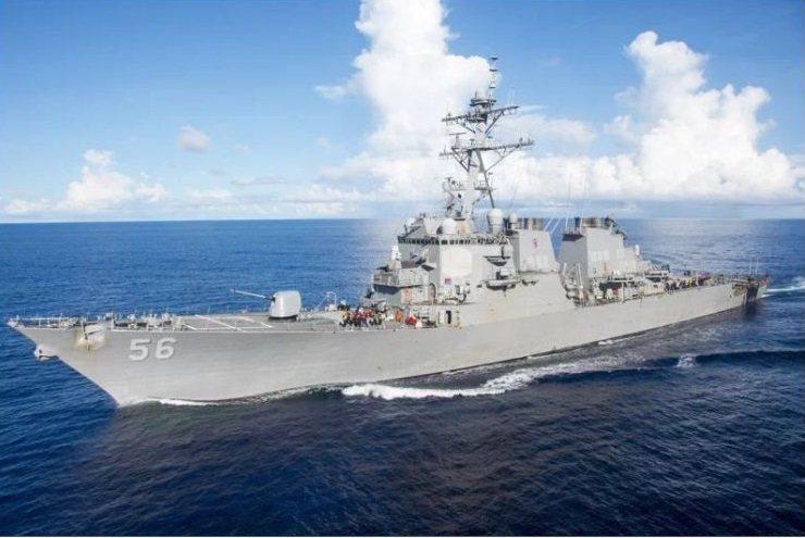 七大工業國G7與歐盟結束外長會議並發表公報,首次公開提及台海議題,圖為今年2月初通過台灣海峽的美軍勃克級導向飛彈驅逐艦馬侃號。歐新社