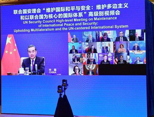 大陸國務委員兼外長王毅昨晚主持聯合國安理會高級別視訊會議,與美國國務卿布林肯再度同台。圖/取自大陸外交部網站