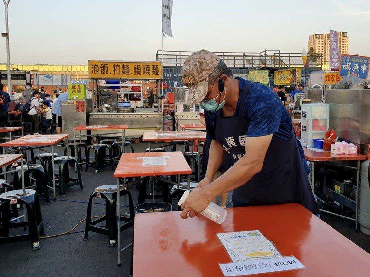 台中市民進入市場、商圈及夜市等消費場所務必佩戴口罩,用酒精消毒,勤做手部清潔,保...