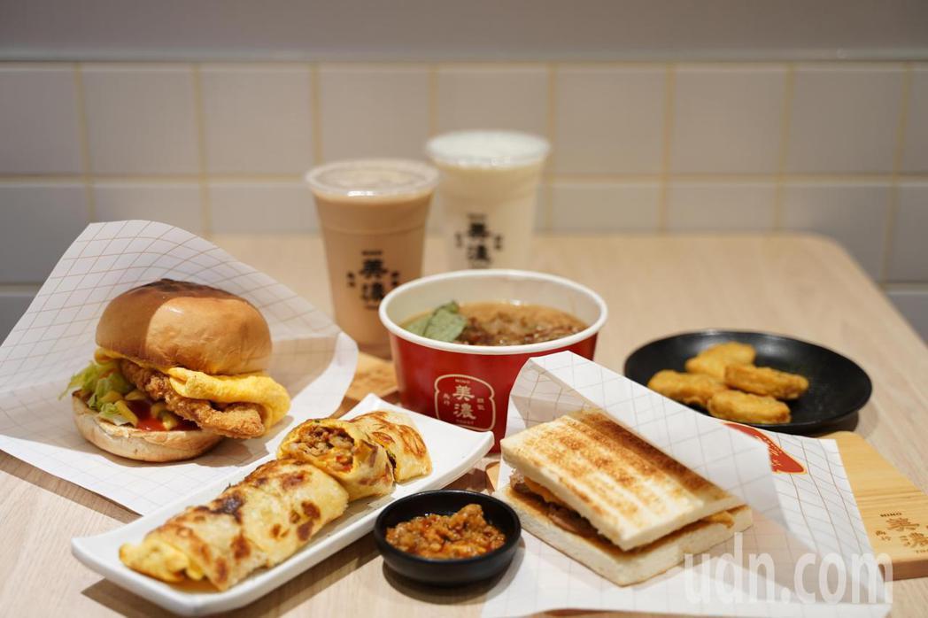 「朝氣美濃」早午餐主打黃金脆皮蛋餅、炭烤吐司、古早味麵線,價格都是銅板價。圖/業...