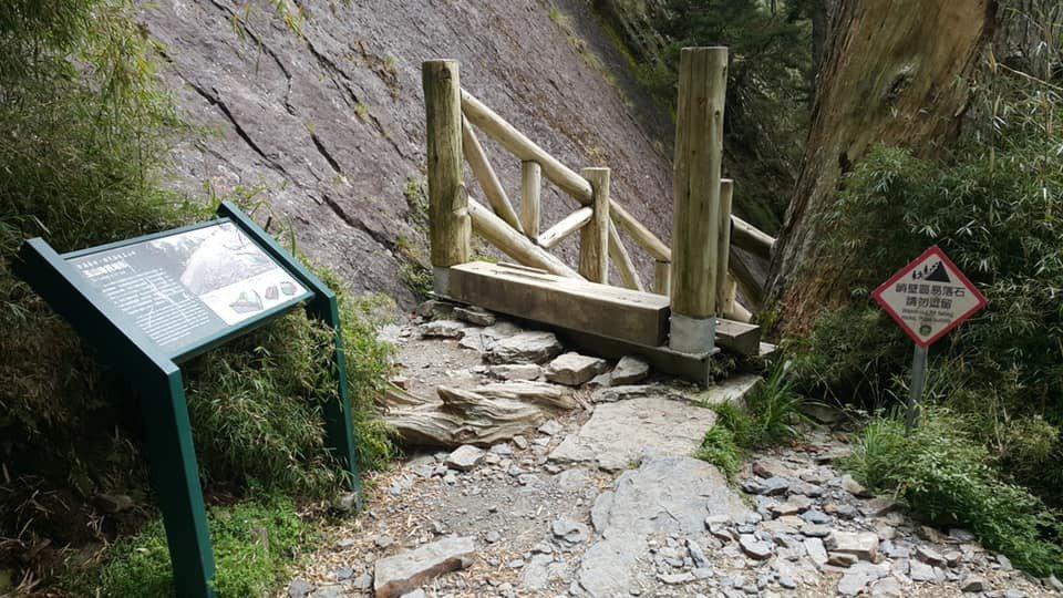 玉山大峭壁雖然設立告示牌提醒,還是有山友疏忽,在大峭壁下方休息。圖/玉管處提供