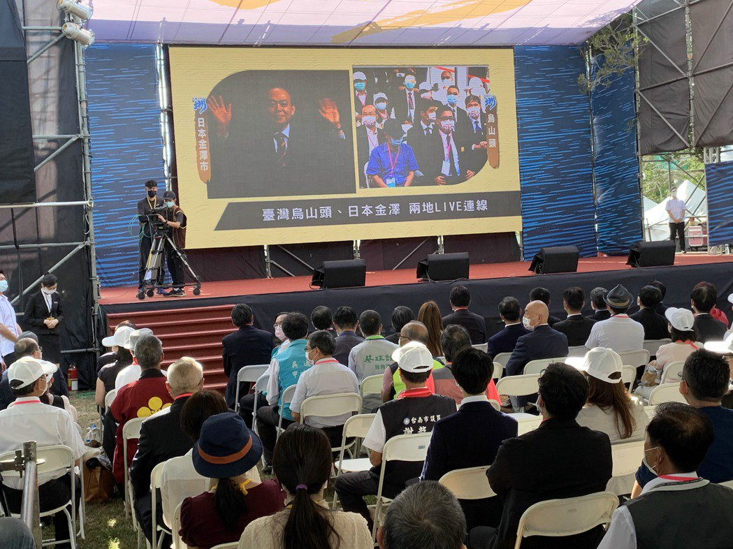 嘉南大圳開工百周紀念典禮今天在八田與一紀念園區舉行,台日也透過視訊同步慶祝。記者...
