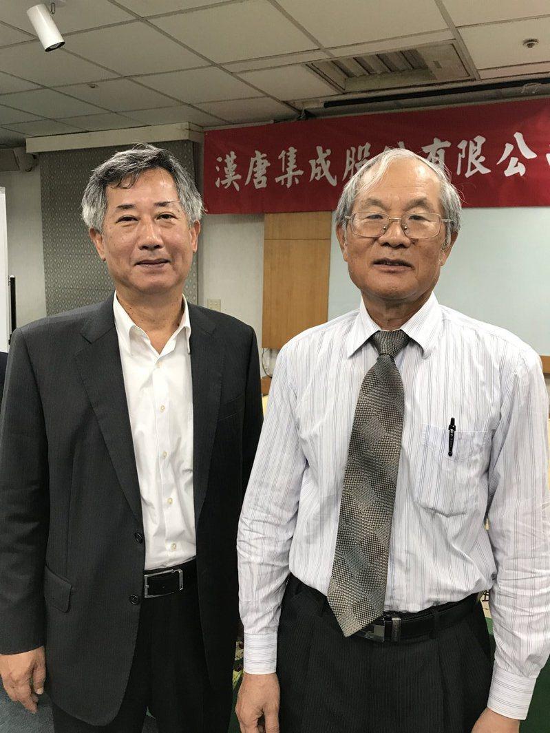漢唐董事長陳朝水(右)與總經理陳柏辰。記者李珣瑛/攝影