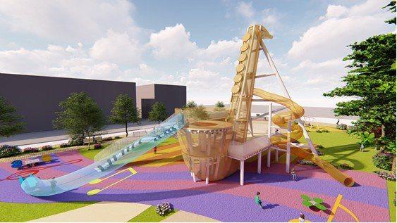 苗栗縣頭份市音樂藝術公園改善案,薩克斯風造型讓人驚艷。圖/苗栗縣政府提供