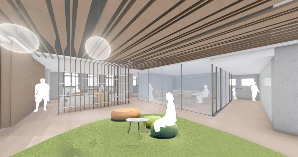 竹市第一座身障者就業大樓室內模擬圖。圖/市府提供