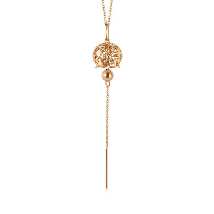 點睛品Journey 「和風遊記」18K玫瑰金風鈴頸鍊,16,800元。圖/點睛...
