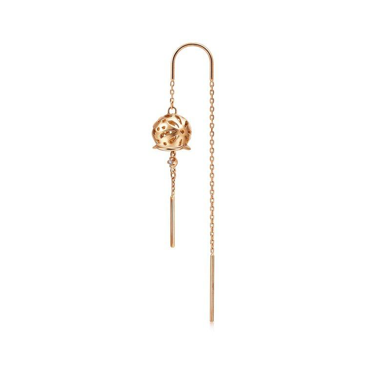 點睛品Journey 「和風遊記」18K玫瑰金鑽石風鈴耳環,單支8,000元。圖...