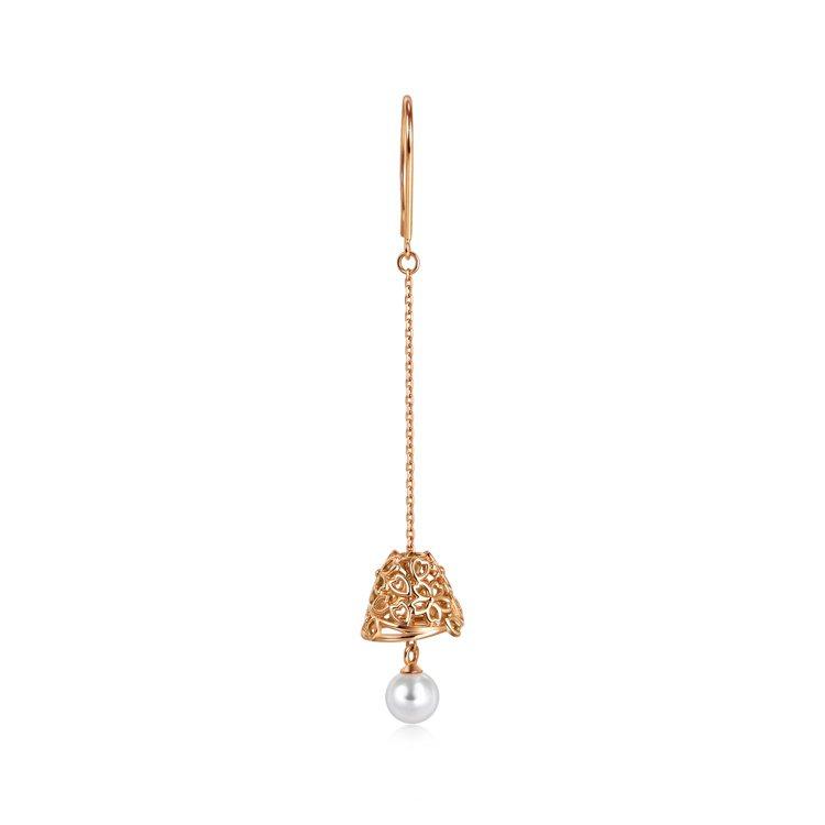 點睛品Journey「和風遊記」18K玫瑰金珍珠耳環,單支8,000元。圖/點睛...