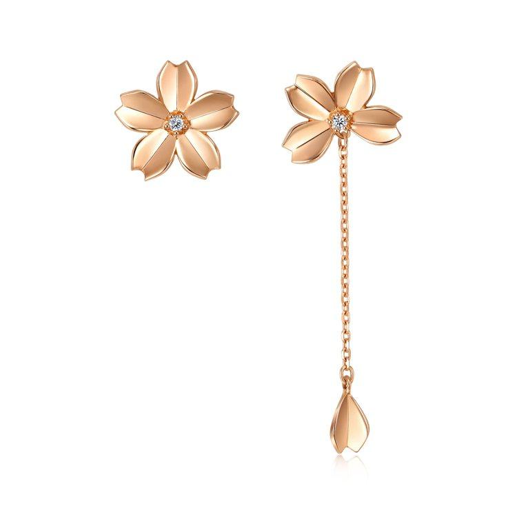 點睛品Journey 「和風遊記」18K玫瑰金鑽石櫻花耳環,11,600 元。圖...
