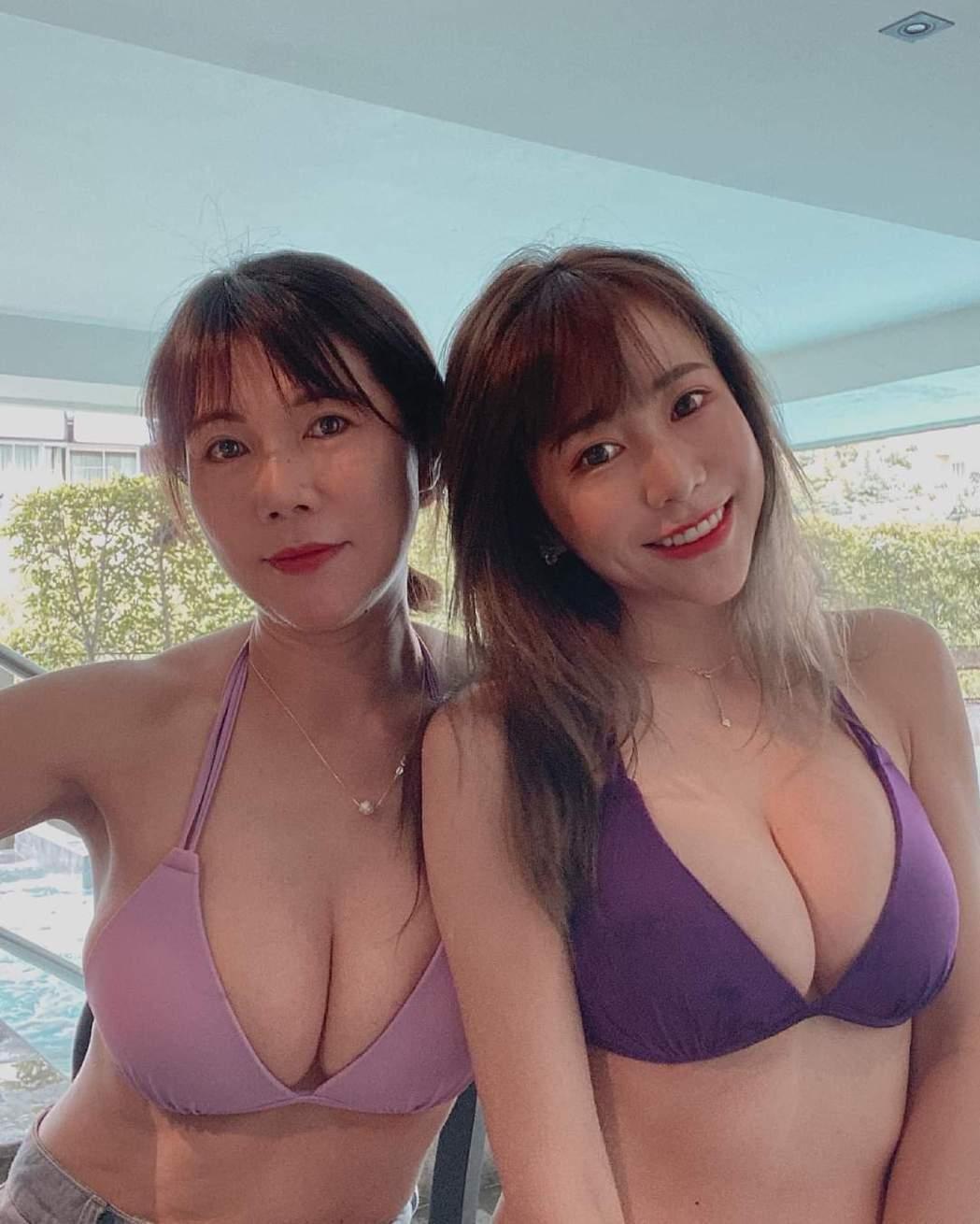 梓梓和媽媽都有火辣身材。圖/摘自臉書
