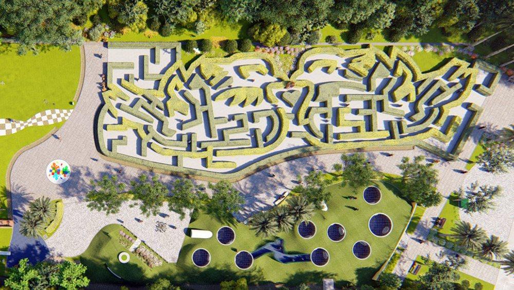 綠籬迷宮為一對鴛鴦造型,孩子們在迷宮花園中探索冒險,與自然環境產生互動。 圖/高...