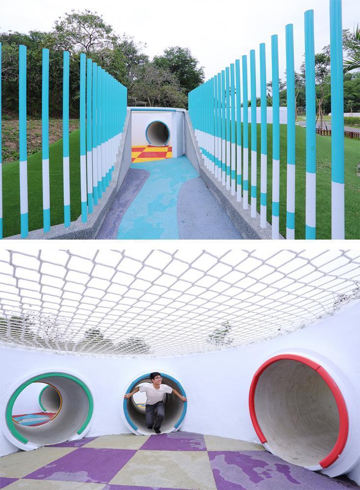 色彩繽紛的涵管迷宮,由下水道涵管銜接拼湊組成,讓孩子們鑽進鑽出創意闖關。 圖/C...