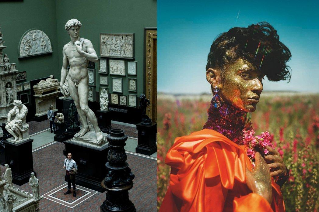 蒂姆.沃克於倫敦V&A博物館(左);蒂姆.沃克「雲朵9」系列作品(右)。 圖/T...