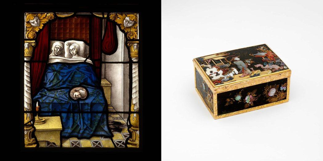 V&A館藏〈多俾亞與撒拉的新婚之夜〉,彩繪玻璃,約1520年(左);V&A館藏〈...