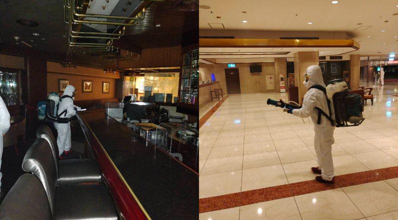 配合政府防疫措施,福華大飯店進行全面消毒。圖/福華大飯店提供