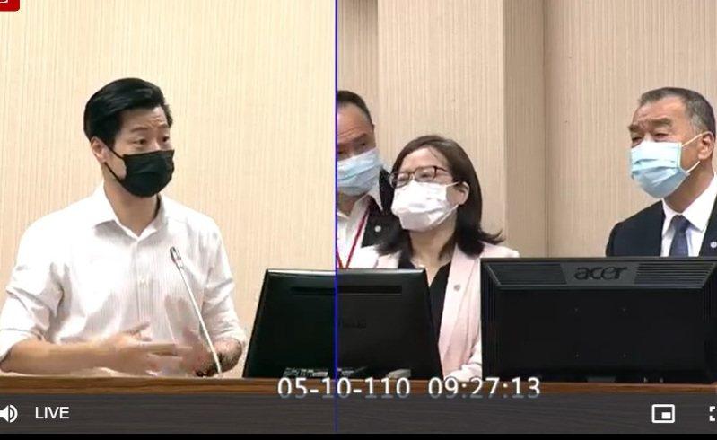 國防部長邱國正(右一)上午在立法院說,到目前為止國軍副食仍是以國產豬為主。圖/取自立法院直播畫面