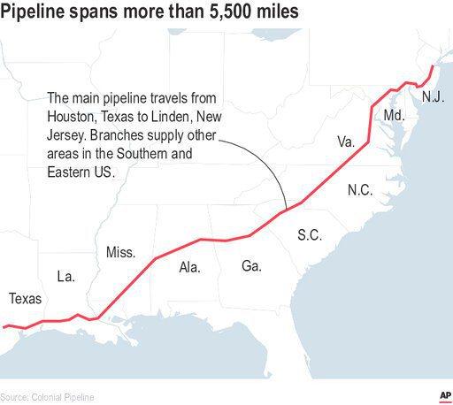 Colonial的輸油管線系統橫跨德州(Texas)到紐澤西州(N.J.),長約...