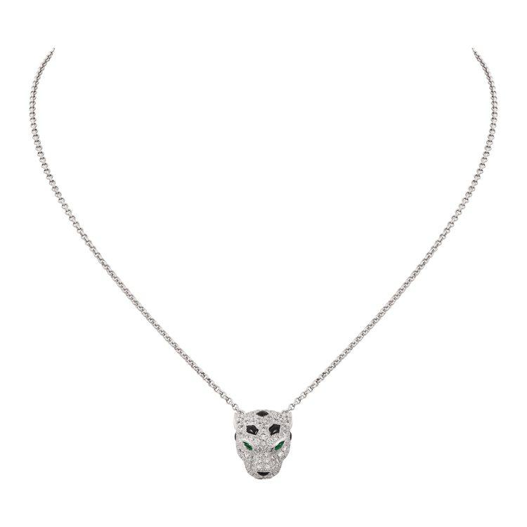 La Panthère美洲豹鑽石項鍊,白K金、縞瑪瑙、祖母綠豹眼、黑色真漆斑點,...