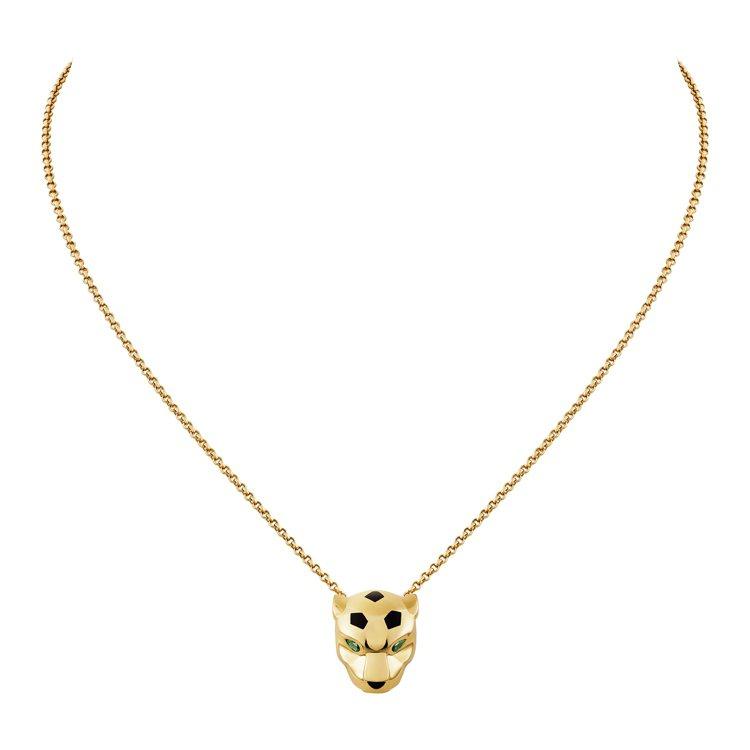 La Panthère美洲豹項鍊,黃K金、縞瑪瑙豹鼻、沙弗萊石豹眼、黑色真漆斑點...
