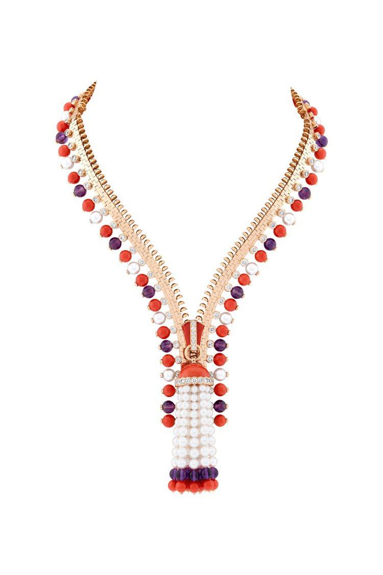 Zip Antique Couleur可轉換式項鍊,玫瑰金鑲嵌珊瑚、紫水晶、白色...