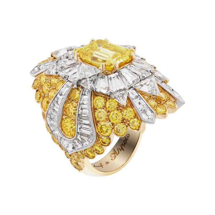 Beauté céleste戒指,黃K金與白K金鑲嵌一顆4.05克拉祖母綠式...