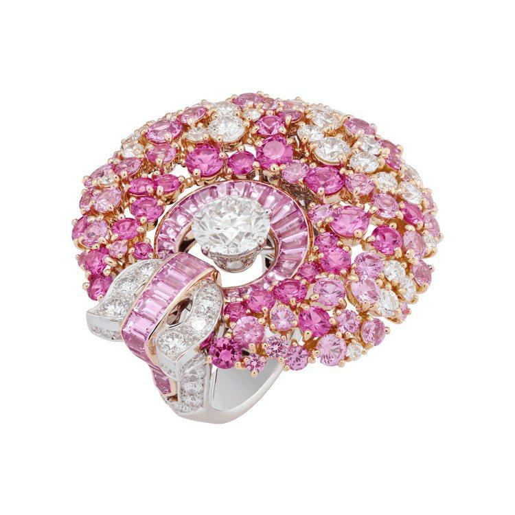 Fleur de glace戒指,白K金與玫瑰金鑲嵌1.73 克拉主鑽、粉紅色剛...