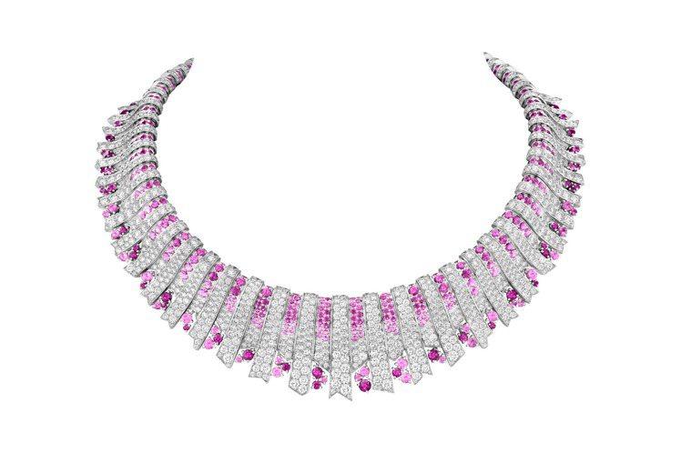 Rayons roses項鍊,白K金鑲嵌粉紅色剛玉與鑽石,約2,860萬元。圖/...
