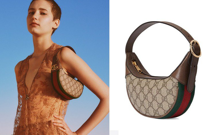 Gucci最近再度為旗下腋下包迎來了新成員—Ophidia迷你月牙型手提包。圖/...