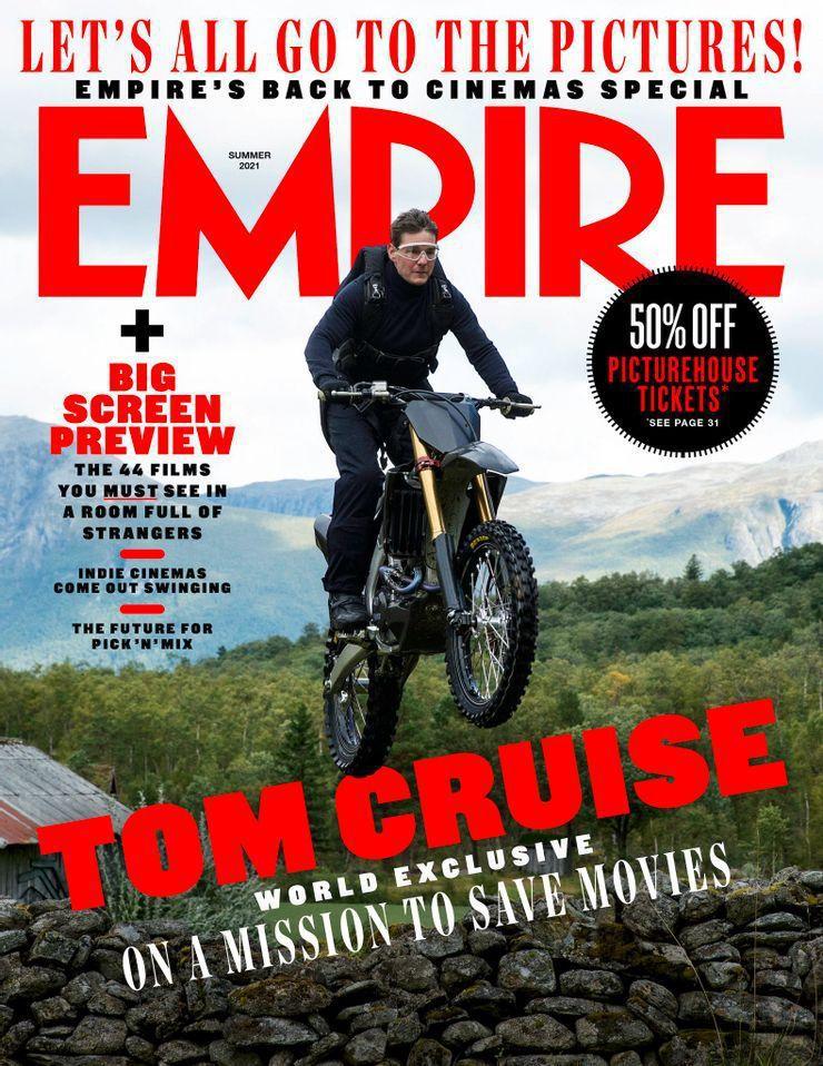 湯姆克魯斯「不可能的任務7」還沒殺青,已先登上雜誌封面。圖/摘自Empire