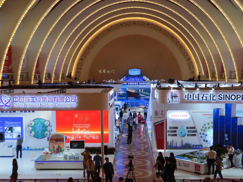 「2021年中國自主品牌博覽會」中央大廳展區仍是由大型央企包辦。記者林則宏/攝影