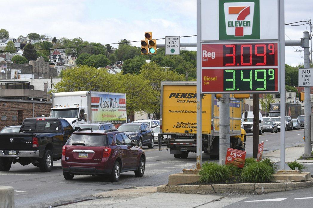 照片攝於5月10日,位於賓州的一處加油站。 圖/美聯社