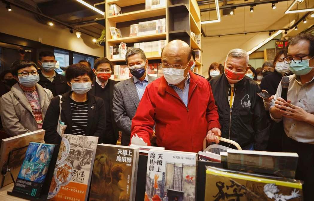 2020年12月13日,行政院蘇貞昌及文化部長李永得參訪台灣漫晝基地。 圖/取自文化內容策進院