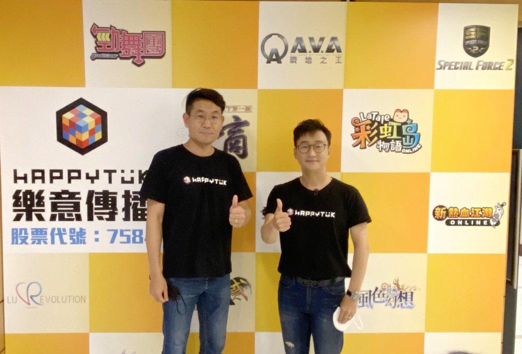 樂意公司董事長梁敏永(右)、副總崔程弼出席興櫃前法人說明會。蔡穎青/攝影。
