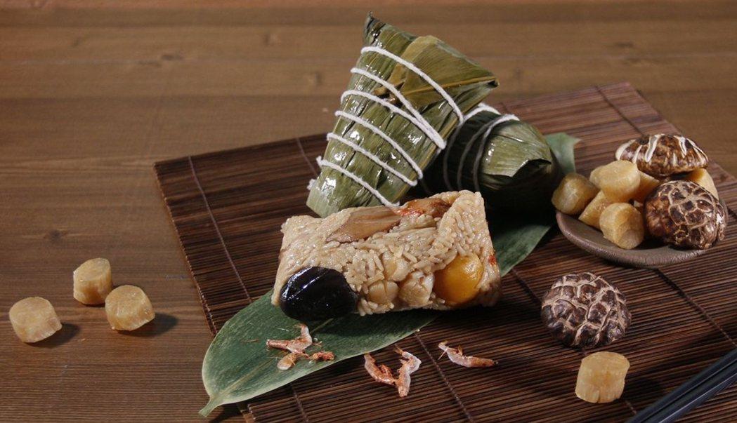 「馥桂粽情意禮盒」中的「八寶干貝粽」。   桂田酒店/提供