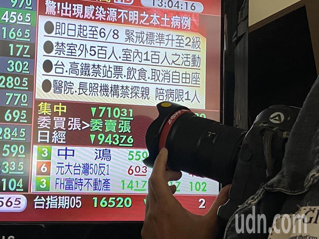 國內新冠肺炎疫情升溫,股市一度重挫到700多點。記者曾吉松/攝影