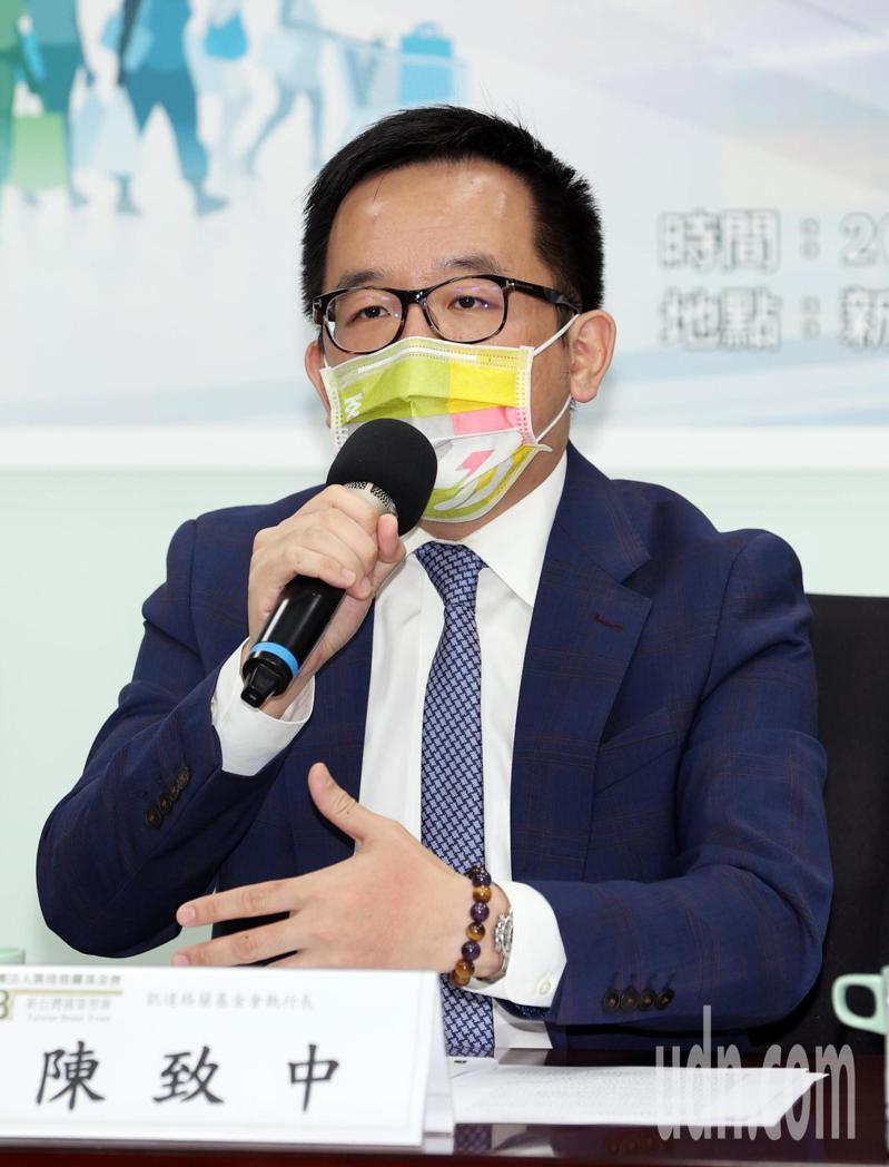新台灣國策智庫今天上午公布「新北市長選舉選情初探」民調,凱達格蘭基金會執行長陳致中代表發言。記者曾吉松/攝影